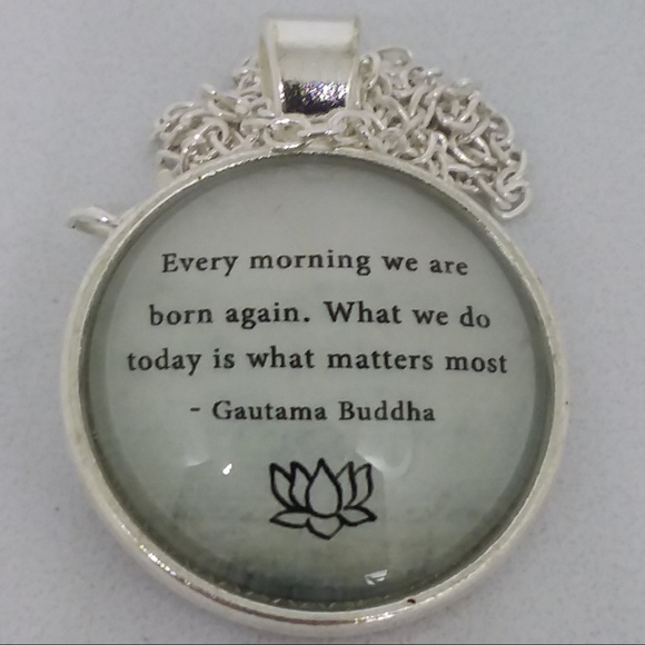 Jewelry - Gautama Budda Quote Glass Cabochon Necklace